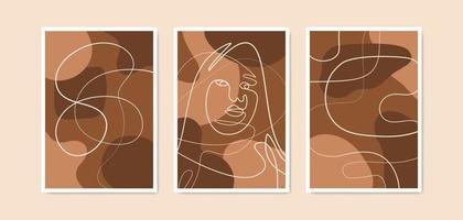 kontinuerlig en linje ritning kvinna ansikte vägg konst affisch. kvinna ansikte linje konst bakgrund vektor
