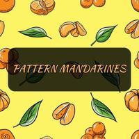 sömlös bakgrund med mandariner. vektorillustration för din design. vektor