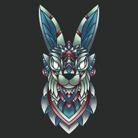 abstrakter bunter Ornament-Gekritzelkunst-Kaninchenillustrationskarikatur-Konzeptvektor. Geeignet für Logo, Tapete, Banner, Hintergrund, Karte, Buchillustration, T-Shirt-Design, Aufkleber, Umschlag usw. vektor