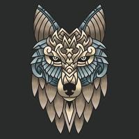 abstrakte bunte Verzierung Gekritzelkunst Wolfillustrationskarikaturkonzeptvektor. Geeignet für Logo, Tapete, Tatto, Hintergrund, Karte, Buchillustration, T-Shirt-Design, Aufkleber, Umschlag usw. vektor