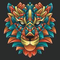 abstrakte bunte Verzierung Gekritzelkunstlöwenillustrationskarikaturkonzeptvektor. Geeignet für Logo, Tapete, Tatto, Hintergrund, Karte, Buchillustration, T-Shirt-Design, Aufkleber, Umschlag usw. vektor