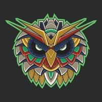 abstrakt färgglada prydnad doodle mecha robotuggla zentangle konst illustration tecknad koncept vektor. lämplig för tapeter, banner, bakgrund, kort, bokillustration, t-shirtdesign, klistermärke, etc. vektor