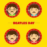 Söt Flat Beatles Karaktär Bakgrund vektor