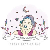 Gullig kvinna med stängda ögon, regnbåge, stjärnor och löv runt vektor