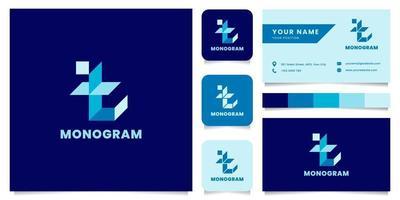 enkel och minimalistisk blå isometrisk bokstav t-logotyp med visitkortsmall