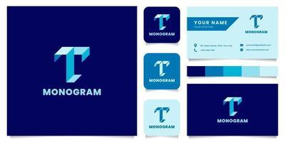 einfaches und minimalistisches blaues isometrisches Buchstaben-t-Logo mit Visitenkartenschablone vektor
