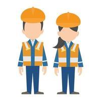 Bauingenieure, Bauarbeiter Zeichen flaches Design, Vektor-Illustration vektor