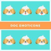 platt hund uttryckssymboler vektor samling