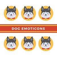 Flache Hundemoticons-Vektor-Sammlung vektor