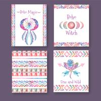 Boho Cards Collection med citat vektor