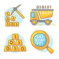 Data Mining auf weißem Vektor