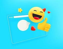 Browserfenster mit mit verschiedenen Emoji. Ich mag es Konzept vektor