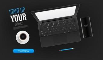 Starten Sie Ihre Business Promo-Zielseitenvorlage mit Laptop und Beispieltext. Draufsicht Vektor Layout