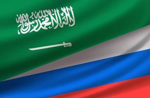 Saud Arabi und Russland. Vektorhintergrund mit Flaggen vektor