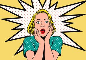 Kvinna Pop Art Vektor Illustration