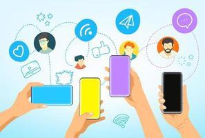 händer med moderna smartphones. sociala medier nätverkskommunikation vektor