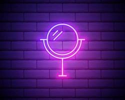 neon spegel ikon isolerad på tegelvägg bakgrund vektor
