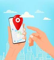 man med modern smartphone. med hjälp av mobilapp för navigering vektor