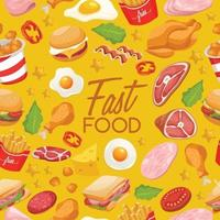 Fast Food leckere Designvorlage nahtloses Muster vektor