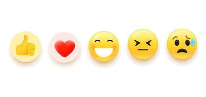 Vektor-Emoji-Set für soziale Medien vektor