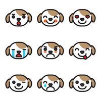 Umrissene Emoji-Hundegesichter vektor