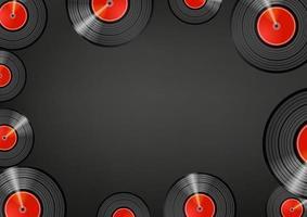 Retro Vinyl Discs Wallpaper. Social Media Nachricht Vektor Hintergrund. Kopieren Sie Platz für einen Text