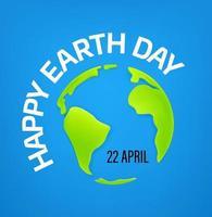 glad jord dag 22 april vektor banner med söt jord karta