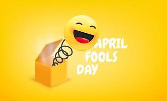 April Narren Tag Vektor mit Geschenkbox. Witz mit lachendem Gesicht