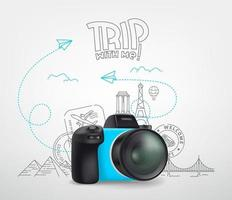 världsresekoncept med digital kamera och logotyp. resa med mig vektor