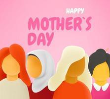 internationales Muttertagsbanner mit Inschrift. verschiedene Rassen- und Kulturfrauen hintereinander vektor