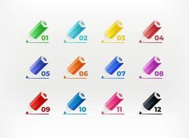 Farbstifte mit Ziffern. Infografik Vektor Kugeln. Vorlage für Design