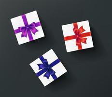 Geschenkboxen isoliert auf dunklem Hintergrund vektor