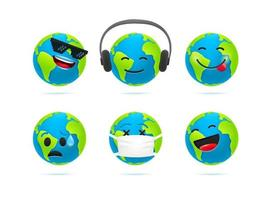 niedliche Erde Charakter Emoticons Vektorsatz. Lustige Erdikonen des 3D-Stils