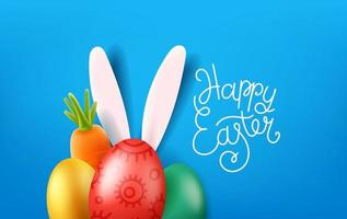 glad påsk gratulationskort med bokstäver inskription vektor