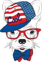 ein schöner Hund in einer Mütze und Brille. Hipster. vektor