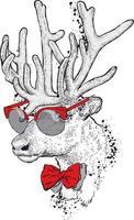 stilig hipster rådjur med glasögon och slips. vektor