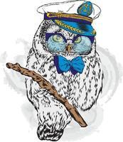 lustiger Eulen-Hipster mit Brille und Kapitänsmütze. vektor