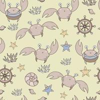 nahtloses Muster mit Meereslebewesen. niedliche lustige Krabben und Korallen, Seesterne und Muscheln auf einem beigen Hintergrund. vektor