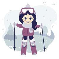 vintersport. en söt tjej åker skidor på en dekorativ bakgrund med ett vinterlandskap, träd och snö. vektor