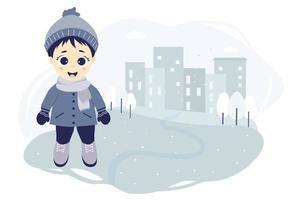 barn vinter. en söt pojke på en vinterpromenad i staden står på en blå bakgrund med hus, träd och snöflingor. vektor