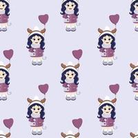 Kinder Winter. nahtloses Muster. ein süßes Mädchen mit einem Ballon, mit einer Tasche auf der Hand und einem Hirschgeweih auf dem Kopf in Winterkleidung. vektor