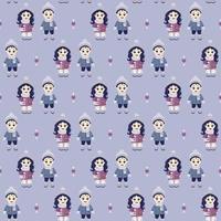 Kinder Winter. nahtloses Muster. süßer Junge und Mädchen mit einer Handtasche in der Winterkleidung auf hellblauem Hintergrund. vektor