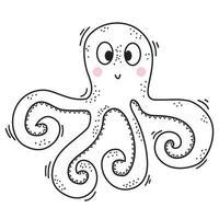 Das Meerestier ist ein Tintenfisch. niedlicher dekorativer Unterwassercharakter mit Augen und Lächeln. vektor