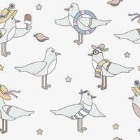 nahtloses Muster mit Seevögeln. niedliche lustige Möwen in Strandkleidung auf hellem Hintergrund. vektor