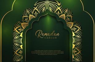 Ramadan Kareem Hintergrund im Luxusstil. Vektorillustration des dunkelgrünen arabischen Entwurfs mit Goldlinienmandalaverzierung für islamische heilige Monatsfeiern. vektor
