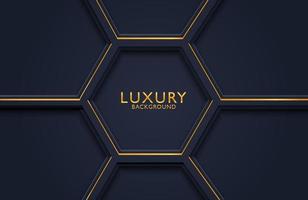 Geometrisches Luxusgoldmetall 3d auf dunklem Hintergrund. Grafikdesignelement für Einladung, Abdeckung, Hintergrund. vektor
