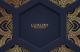 Luxus 3d Hintergrund mit Goldmandala verziert für Hochzeitseinladung, Buchumschlag. arabischer arabischer Hintergrund vektor