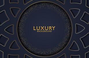 abstrakter schwarzer geometrischer Luxushintergrund mit Goldpunkthalbtonelement. Vektorschablone für Einladung, Abdeckung, Hintergrund. elegante Dekoration vektor