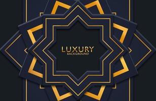 abstrakte realistische 3D-Luxusdekoration, strukturiert mit goldenem Linienmuster. 3D-Hintergrund, Einladung, Cover-Layout-Vorlage. vektor