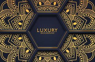 lyxig 3d bakgrund med utsmyckad guldmandala för bröllopsinbjudan, bokomslag. arabesk islamisk bakgrund vektor
